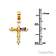 Small Multicolored Baguette CZ Cross Pendant in 14K Yellow Gold thumb 1