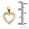 CZ Mini Open Heart Charm Necklace with Box Chain - 14K Yellow Gold 16-22in thumb 1