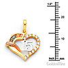CZ Quinceanera 15 Anos Open Heart Charm Necklace with Box Chain - 14K Tricolor Gold 16-24in thumb 1