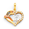 Quinceanera 15 Años CZ Open Heart Charm Pendant in 14K Tricolor Gold - Mini thumb 0