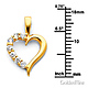 CZ Open Journey Heart Pendant Necklace with Cable Chain - 14K Yellow Gold 16-22in thumb 1