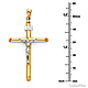 Large Rod Crucifix Necklace with Figaro Chain - 14K Two-Tone Gold 16-24in thumb 1