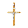 Large Rod Crucifix Pendant in 14K Two-Tone Gold - Classic 49mmH thumb 0
