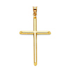Large Tube Cross Pendant in 14K Yellow Gold - Classic thumb 0
