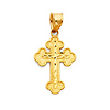 Greek Orthodox Small Cross Pendant - 14K Yellow Gold thumb 0
