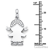 CZ Pigtails Little Girl Charm Pendant in 14K White Gold - Petite thumb 1