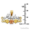 Madre Pendant with Flowers in 14K Tricolor Gold - Petite thumb 1