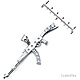 CZ AK-47 Rifle Pendant in Sterling Silver (Rhodium) - Extra Large thumb 2
