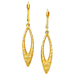 Faceted Open Marquis 14K Yellow Gold Drop Earrings