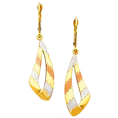 14K Real Yellow 3 Tri-color Gold Fancy Dangle Hanging Earrings for Woman
