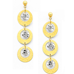 14K Yellow and White 2 Two Tone Gold Fancy Dangle Hanging Earrings with Pushback