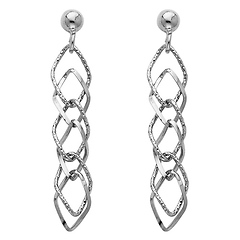 14K White Gold Fancy Dangle Hanging Earrings with Pusback
