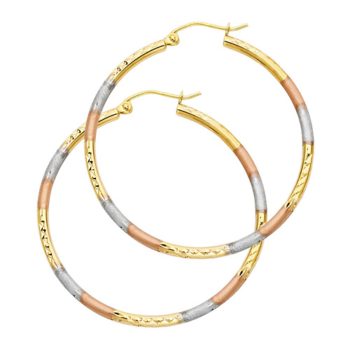 3mm x 0.9 inch 14K Tricolor Gold Medium Twisted Hoop Earrings