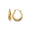 Crescent Diamond-Cut Petite Hoop Earrings - 14K Yellow Gold 0.6 inch thumb 0
