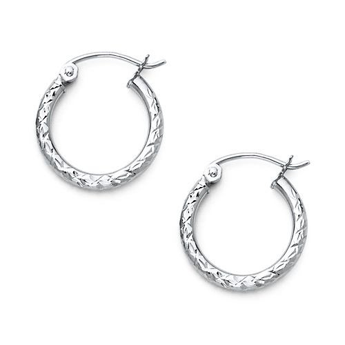 14K White Gold 2mm Thickness Small Diamond Cut Classic Hinged Hoop Earrings 15mm