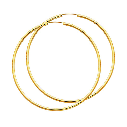 14k Yellow Gold Polished Endless Extra Large Hoop Earrings