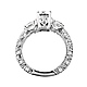 Vintage-Style Scalloped 3-Stone Round CZ Engagement Ring in Sterling Silver (Rhodium) thumb 1