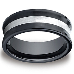 8mm Ceramic Satin-Finished Concave Silver Inlay Design Wedding Ring