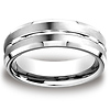 7mm Cobaltchrome Grooved Center Beveled Edge Wedding Ring thumb 0