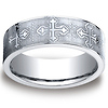 7mm CobaltChrome Christian Budded Cross Comfort-Fit Benchmark Ring thumb 0