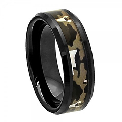 8mm Black Ceramic Commando Camo Wedding  Ring