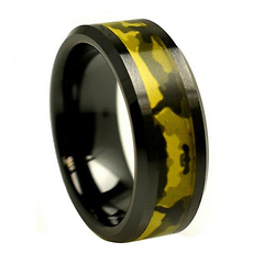 8mm Black Ceramic Army Green Inlay Camo Ring