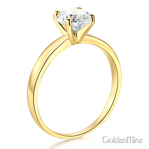 1-CT Round-Cut 4-Prong Solitaire CZ Engagement Ring in 14K Yellow Gold Slide 1