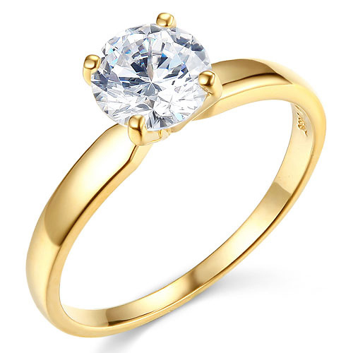 1-CT Round-Cut 4-Prong Solitaire CZ Engagement Ring in 14K Yellow Gold Slide 0