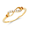 Sparkling Semi-Lined CZ Infinity Ring in  14K Yellow Gold thumb 3