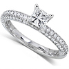 14K White Gold Micro Pave Princess Cut  Diamond Engagement Ring thumb 1