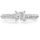 14K White Gold Micro Pave Princess Cut  Diamond Engagement Ring thumb 2