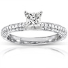 14K White Gold Micro Pave Princess Cut  Diamond Engagement Ring thumb 0