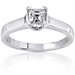 14K White Gold Asscher Cut Diamond Engagement Ring 0.50 ctw