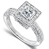Vintage Style Halo Princess-Cut Diamond Engagement Ring 1ct TW - 14K White Gold thumb 1