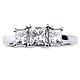 14K White Gold 3 Stone Princess Cut Bridal Engagement Ring 1.0ctw thumb 1