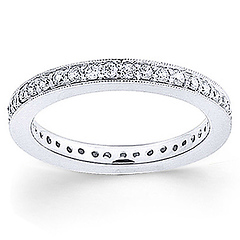 Milgrain 14K White Gold 0.5ctw Pave Set Round Diamond Eternity Ring