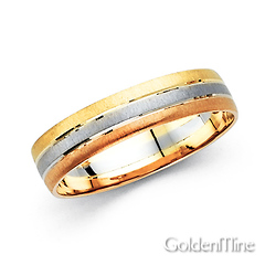 5mm Triple Row 14k Tri Color Gold Wedding Band
