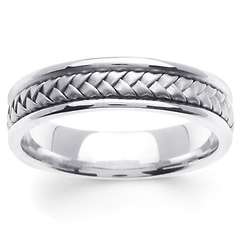 5.5mm Modern Hand-Woven Braided Wedding Band in 14K White Gold