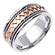 8.5mm Handmade Rope & Tricolor Braided Men's Wedding Band - 14K White Gold thumb 1