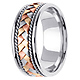 8.5mm Handmade Rope & Tricolor Braided Men's Wedding Band - 14K White Gold thumb 2