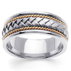 8.5mm Handmade Rope & Braided Men's Wedding Band - 14K Two-Tone Gold