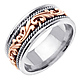 9mm Art Deco Rose Gold Flourish 14K Two Tone Wedding Ring for Men thumb 1