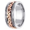 9mm Art Deco Rose Gold Flourish 14K Two Tone Wedding Ring for Men thumb 2