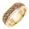 7mm Tricolor Braided Rope Men's Wedding Band - 14K Yellow Gold thumb 1