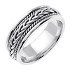 7mm Woven Cord Raised Braided Men's Wedding Band - 14K White Gold thumb 1