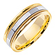 7mm White Inlay Handmade Rope Men's Wedding Band - 14K Two-Tone Gold thumb 1