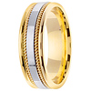 7mm White Inlay Handmade Rope Men's Wedding Band - 14K Two-Tone Gold thumb 2