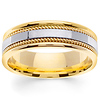 7mm White Inlay Handmade Rope Men's Wedding Band - 14K Two-Tone Gold thumb 0