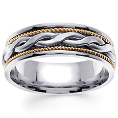 7mm 2-Strand Celtic Knot Woven Rope Men's Wedding Band - 14K Two Tone Gold