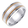 8mm Satin Center Yellow Rope Hand-Woven Wedding Ring - 14K Two-Tone Gold thumb 1